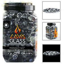 Midnight Sky Round Cut LavaGlass Firepit Dispersion Glass Gas Fireplace 10 lbs