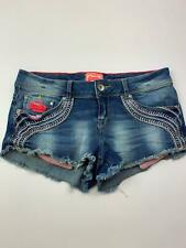 WOMENS SUPERDRY VINTAGE BLUE EMBROIDER DETAIL HOT PANTS DENIM SHORTS SIZE SMALL