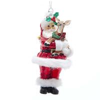 Kurt Adler Santa W/ Reindeer Holly Christmas Tree Glass Ornament Retro Vtg Decor