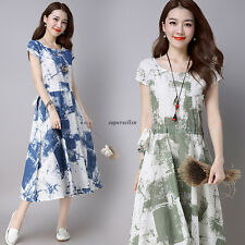 Vintage Women Loose Cotton Linen Floral A Line Maxi Tunic Summer Dress Green 2XL
