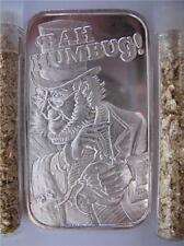 1 OUNCE .999 PURE SILVER RARE CHRISTMAS BAH HUMBUG BULLION BARTER ART BAR + GOLD