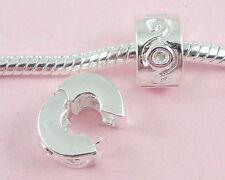 10pcs Silver Plating Clip Lock Stopper Beads Fit European Charm Bracelet K9