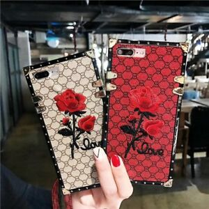 Retro Embroidery Rose Flower Phone Case For Samsung S8 S9 S10 S20 FE S21 Note 20