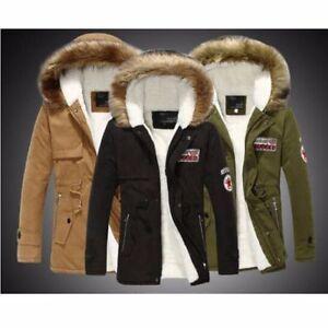 Mens Warm Fur Collar Hooded Parka Winter Slim Thick Down Coat Outwear Jacket