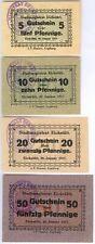 Eichstätt 4 Notgeldscheine komplett, 1 Serie 20.1.1917, mit Stempel Magistrat, I