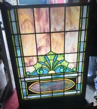 Rare & Beautiful Antique Stained Leaded Glass Window Mansion Theatre Shipping Ok