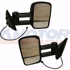 Side View Mirrors Power Heated Towing Black LH & RH Pair Set for Chevy GMC 07-13