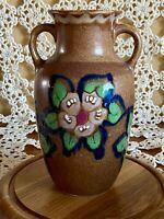 Art Deco antique pottery vase floral motif numbered brown blue green Urn