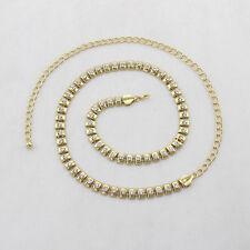 Ladies Womens Gold Diamante Diamond Waist Chain Charm Belt Buckle Fashion 505