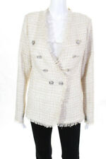 Aqua Womens Tweed Double Breasted Button Down Jacket Beige Size M