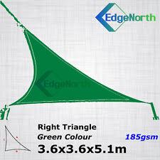 Heavy Duty Right Triangle Shade Sail Outdoor Canopy Awning - Green 3.6x3.6x5.1m