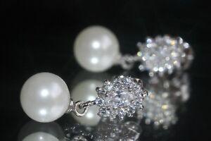 Elegant Fresh Water Pearl & Created Brilliant Diamond Dangle Studs / Earrings