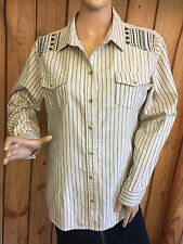 Wrangler Shirt Beige Blue Striped Embroidered Womens Long Sleeve Size M