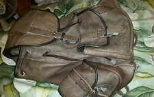 big cowhide leather taupe/brown heavy back pack ,gc
