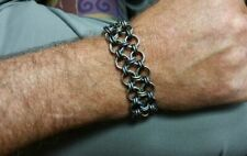 Flamed Titanium Stainless Steel Biker Handcrafted Chainmaille Bracelet Grade 5