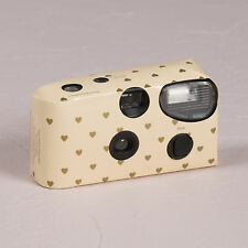 Disposable Camera with Flash Cream and Gold Hearts Design Party 10 Pack