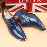 Men's Oxfords Pointed Toe Lace Up Cuban Heel Patent Leather British Dress Shoes