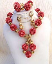 New Latest Design Deep Peach Party Bridal Wedding African Beads Jewellery Set