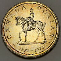 1973 CANADA 1 ONE SILVER DOLLAR PROOF GEM UNC TONED NEON YELLOW COLOR BU (DR)