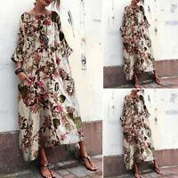 ZANZEA Women Floral Casual Loose Long Dress Ladies Kaftan Oversized Maxi Dresses