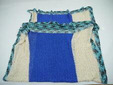 Tagesdecke  Handarbeit Häkeldecke 126cm x 160 cm natur-blau-türkis Baumwolle