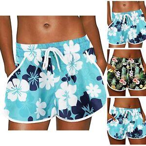 Women Summer Floral Beach Boardshorts Pockets Swim Trunks Printed Casual Shorts