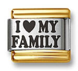 Italian Charm Bracelet Link Laser I Heart My Family Gold Trim Stainless Steel