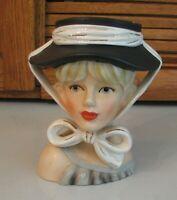 Mid Century  Head Vase RELPO K1783 Blond w Black Hat JAPAN 50's Headvase Retro