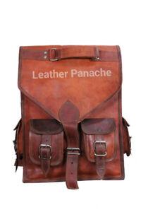 Real OILED Soft leather handmade backpack brown vintage shoulder rucksack bag