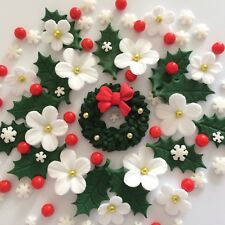 CHRISTMAS WREATH BOUQUET Edible Sugar Paste Flowers Cake Decorations Toppers