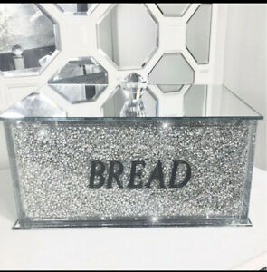 Large Silver Crushed Diamond Crystal Mirrored Bread Bin Container Kitchen Jar