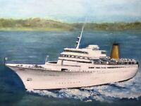 Original Nautical Oil Painting Sea Princess Sun Class Cruise Ship Vessel On Seas