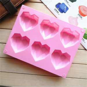 Silicone Diamond Love Heart Shape Mould Pastry Bake Mold Tool Cake Mold New