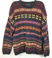 Vintage Structure Sz XL Mens Cosby Sweater Cotton Print Biggie Style Multicolor