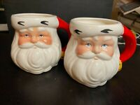 Santa Jolly Ole St. Nicholas Christmas SANTA Coffee Mug - Set of 2 - White Beard