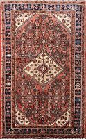 Vintage Traditional Geometric Hamedan Area Rug Wool Hand-knotted Oriental 4x5 ft