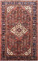 Vintage Traditional Geometric Hamedan Area Rug Wool Hand-knotted Oriental 4x5 ft