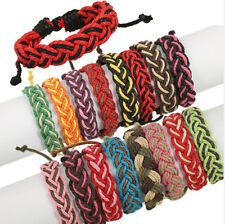 Lot 12pcs Fashion Handmade Twist Colorful Hemp Rope Adjustable Bracelet For Gift