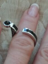 Designer signed GC 925  STERLING SILVER ONYX RING SZ 6..