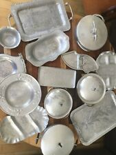 Aluminum And Hammered Aluminum Serving Trays Some By Rodney Kent. Vintage. 14