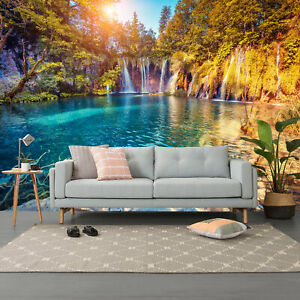 3D Turquoise Water Forest Self-adhesive Living Room Wallpaper Wall Murals Photo