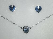 Made with Swarovski Elements blue heart crystal necklace & earrings set ref;160s