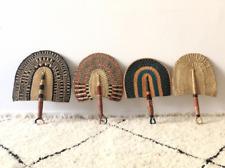 Handmade African Bolga Ghana fan with rare natural elephant object ethnic wall d