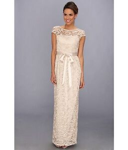 Adrianna Papell Womens Champagne Gold Lace Long Dress Size 10 Brand New RRP £240