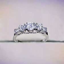 White Gold gp Three-Stone Round Tapered Baguettes lab Diamond Wedding Party Ring