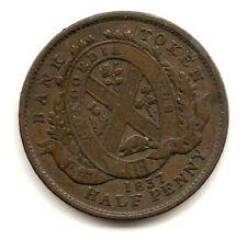 1837 CANADA BANK TOKEN 1/2 PENNY COIN