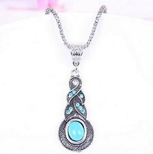 NEW Fashion Jewelry Tibetan Silver Blue Turquoise Chain Crystal Pendant Necklace