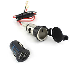 12V 120W Dual Usb Car Motorcycle Female Cigarette Lighter Power Plug Socket Us