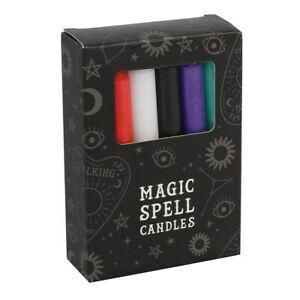 12 x MIXED SOLID COLOUR SPELL CANDLES  Ritual  Pagan  Witchcraft  Gothic  Vamp