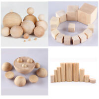 Natural Wooden Half Balls Cylinder Square Cubes Blocks Round Wood Craft Hardwood